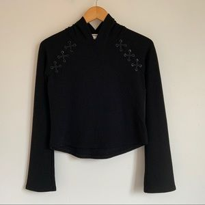 Garage Cropped Hoodie Black Sweater - Size Small